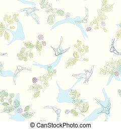 パターン, 白, florals., 鳥