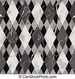 パターン, 白, seamless, 黒, 贅沢, 幾何学的, 大理石