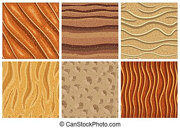 パターン, 砂, セット, seamless