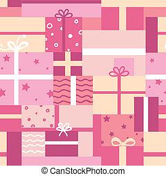 パターン, 箱, 贈り物, seamless, 背景