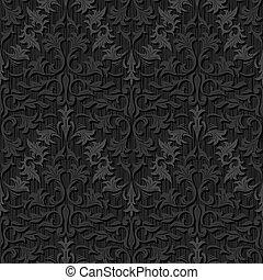 パターン, 絹, 黒, seamless, 壁紙