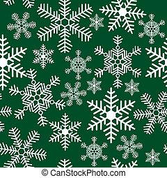 パターン, 緑, 雪片, 背景, seamless