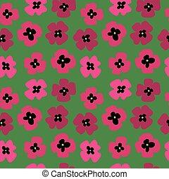 パターン, 緑, seamless, 背景, ケシ