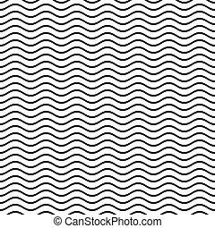 パターン, 線, 波状, seamless
