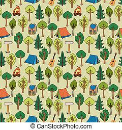 パターン, 背景, ハイキング, キャンプ, seamless