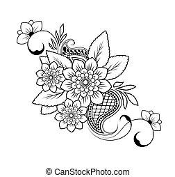パターン, 背景, ベクトル, 花, 白
