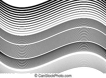 パターン, 背景, 手ざわり, デザイン, undulating, 水平線, ストライプ, 抽象的, 振ること, 波状, 要素, モノクローム, 黒, billowy, 白