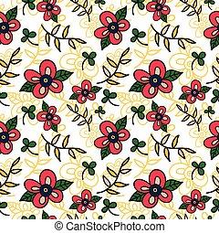 パターン, 背景, seamless, 花, ベクトル, leaves.
