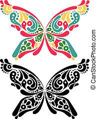パターン, 色, tattoo., 黒, 形。, 蝶, 芸術的, バージョン, 美しい, 白