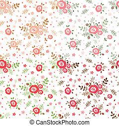 パターン, 花, セット, seamless