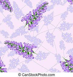 パターン, 花, セージ, seamless
