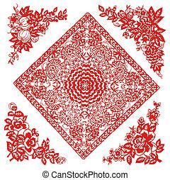 パターン, 花, 中国語, paper-cut