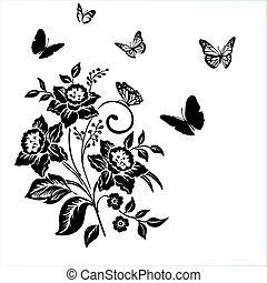 パターン, 花, 優雅さ, narc