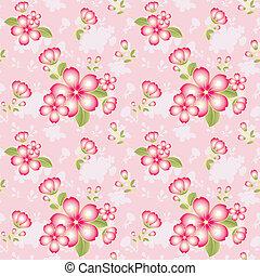 パターン, 花, 東洋人, seamless, 背景