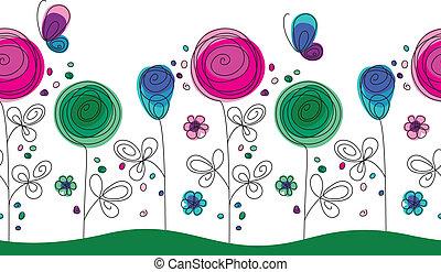 パターン, 花, 芸術的, カラフルである, seamless