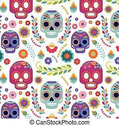 パターン, 花, 頭骨, メキシコ\