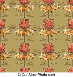 パターン, 花, art-nouveau