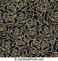 パターン, 花, roses., seamless