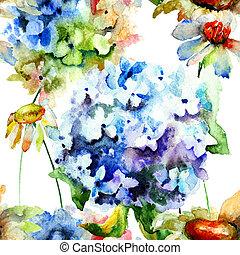 パターン, 花, seamless, アジサイ, camomile