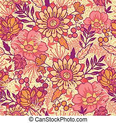 パターン, 花, seamless, 背景, 秋