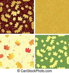パターン, 葉, セット, ベクトル, -, seamless, 明るい, 秋