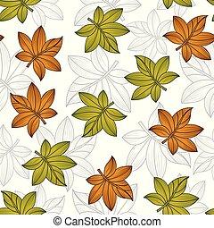 パターン, 葉, ベクトル, seamless, 創造的