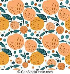 パターン, 葉, 水分が多い, seamless, バックグラウンド。, りんご, 白