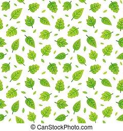 パターン, 葉, 緑, seamless