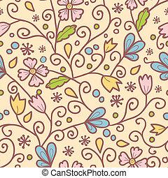 パターン, 葉, 花, seamless, 背景