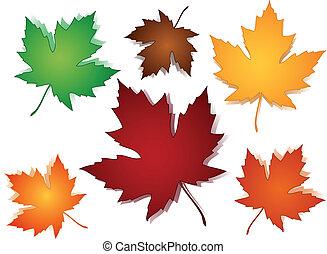 パターン, 葉, seamless, かえで, 秋