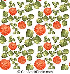 パターン, 葉, seamless, 水彩画, バックグラウンド。, 緑, physalis, オレンジ, 白い花