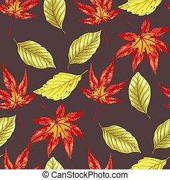 パターン, 葉, seamless, wirh, 秋, 明るい, ベクトル