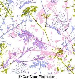 パターン, 蝶, 野生の花, seamless