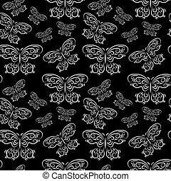 パターン, 蝶, 黒, seamless, 背景