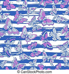 パターン, 装飾用である, seamless, butterflies.