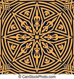 パターン, 装飾, 花, オレンジ, アラビア, 幾何学的