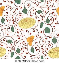 パターン, 装飾,  seamless, 中国語, 菊