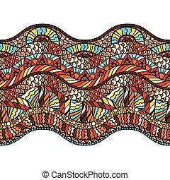 パターン, 装飾, seamless, 手, 民族, 引かれる