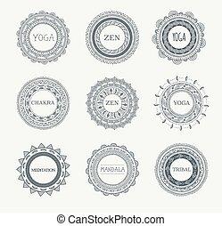 パターン, 要素, mandala, 装飾, 背景, ラウンド, 種族, ボヘミアン