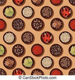 パターン, 調味料, スパイス, seamless, 背景