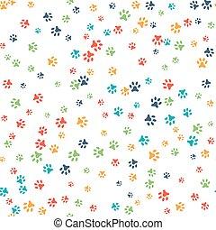 パターン, 足跡, 犬, ねこ, ベクトル, seamless, ∥あるいは∥