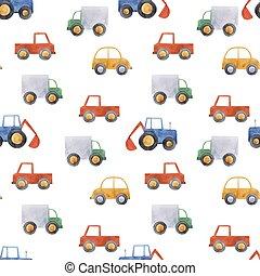パターン, 車, 水彩画, ベクトル, 自動車, 赤ん坊