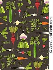 パターン, 野菜, 上, seamless, 暗い背景, 根, 葉が多い
