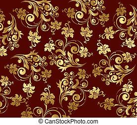 パターン, 金, 巻き毛, ベクトル, 花