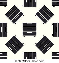 パターン, 隔離された, イラスト, 灰色, バックグラウンド。, ベクトル, nightstand, seamless, 白, アイコン, 家具