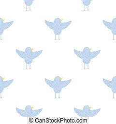パターン, 隔離された, seamless, 青, 白, 鳥, silhouettes., 飛行, design., バックグラウンド。, 単純である