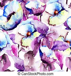 パターン, 青い花, seamless, 美しい