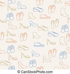 パターン, 靴, seamless