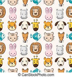 パターン, 頭, 漫画, 動物, seamless