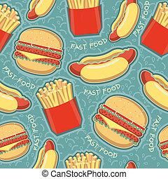 パターン, 食物, 手ざわり, 速い, seamless, ベクトル, バックグラウンド。